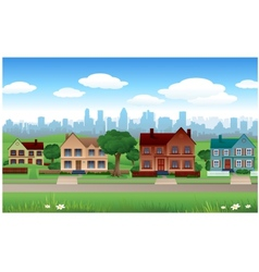 house background with cityscape behind vector image vector image