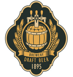 label of draft beer with barrel and coat of arms vector image