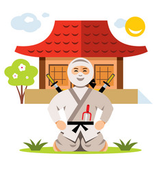 Ninja and dojo flat style colorful cartoon vector