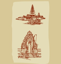 Vintage Balinese temple sketches vector image vector image
