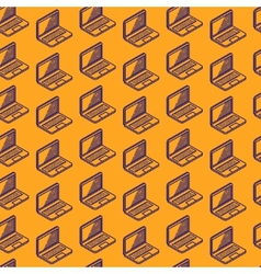 abstract seamless pattern with isometric laptop vector image