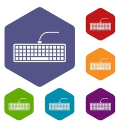 Black computer keyboard icons set vector image vector image