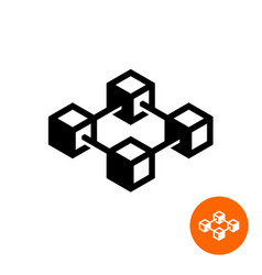 blockchain icon block chain technology symbol vector image vector image