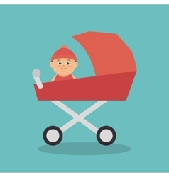 Cute baby in cart vector