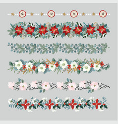 set of christmas borders strings garlands or vector image