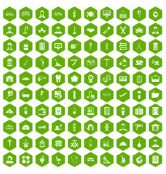 100 craft icons hexagon green vector