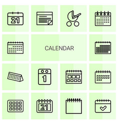 14 calendar icons vector