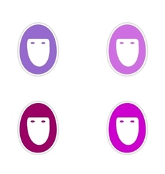 Assembly realistic sticker design on paper hijab vector