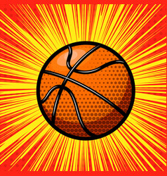 basketball ball on comic style background design vector image