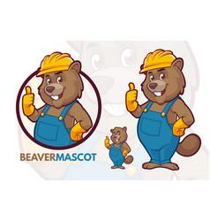 Beaver mascot set vector