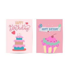 birthday cards set with cake vector image