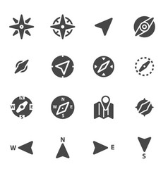 Black compass icons set vector
