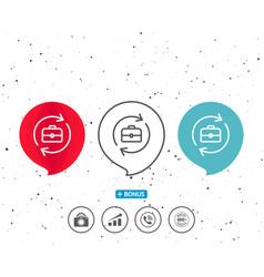 Business recruitment line icon portfolio case vector