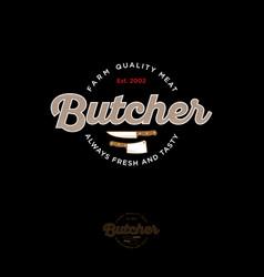 butcher vintage logo knifes ax lettering vector image