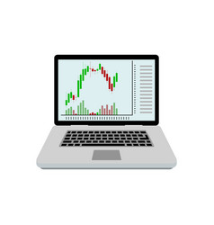 candlestick chart on screen laptop vector image