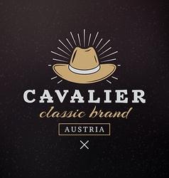 Cavalier Hat Vintage Retro Design Elements for vector image