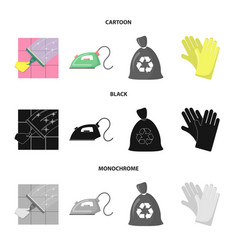 cleaning and maid cartoonblackmonochrome icons vector image