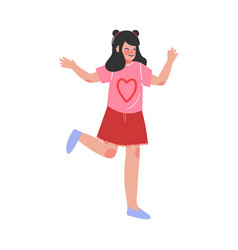 Cute brunette teen girl happily jumping excited vector