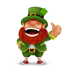 cute cartoon leprechaun character laughing and vector image