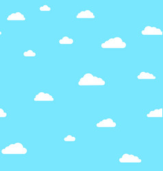 cute clouds on blue sky pattern vector image