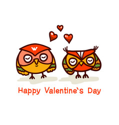 Cute owls couple valentines day hand drawn vector
