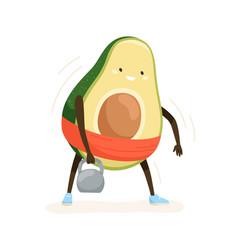 Cute strong avocado exercising with weight vector
