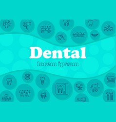 Dental banner with flat icons vector