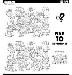 differences educational task with cats and dogs vector image