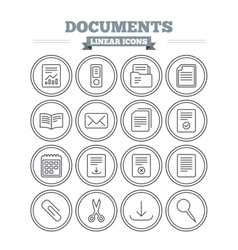Documents linear icons set Thin outline signs vector