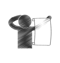 drawing man with paper newsletter figure pictogram vector image