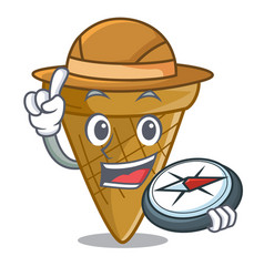 Explorer empty wafer cone for ice cream character vector