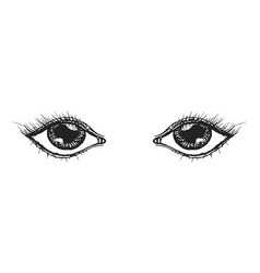 eyes hand drawn sketch vector image