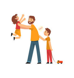 father son and daughter having fun together dad vector image