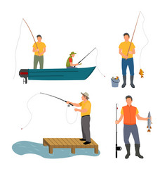 Fishing process isolated on white banner vector