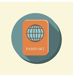 flat circle web icon international passport vector image