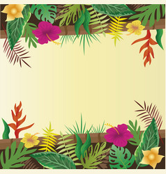 Flower and leaves with copy space background vector