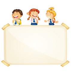Frame template design with three happy students vector