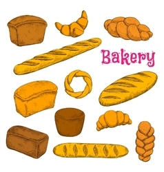 Fresh baked pastries and bread sketch icons vector