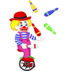 Funny clown cartoon playing balls on bicycle vector