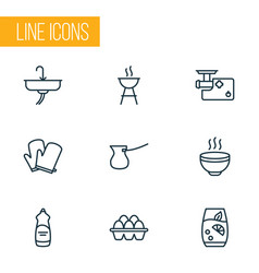 gastronomy icons line style set with meat grinder vector image