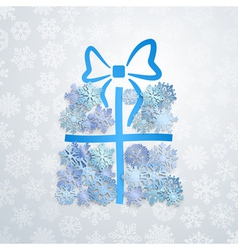 Gift box of snowflakes vector image