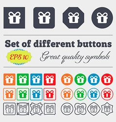 gift icon sign Big set of colorful diverse vector image