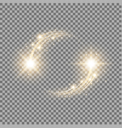 glittering star dust circle of lights golden color vector image