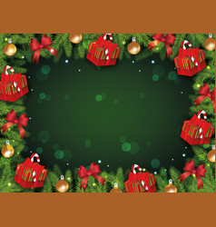 green christmas background template with border of vector image