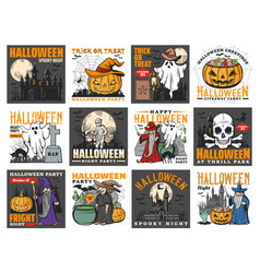 halloween witch ghosts pumpkins bats and skull vector image