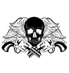 Hand drawn human skull with vintage guns and vector