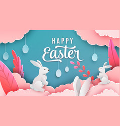 happy easter banner background holiday greeting vector image