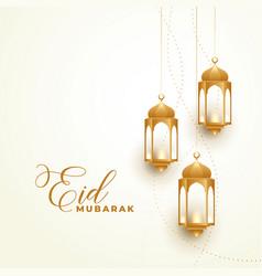 Happy eid festival golden lamps background vector