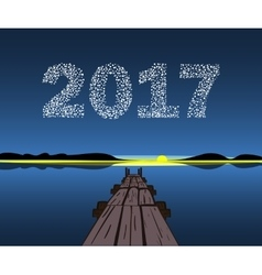 Happy new year 2017 starburst dawn vector