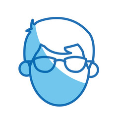 head no face man character glasses blue outline vector image